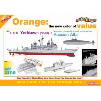 Корабль  U.S.S. YORKTOWN CG 48 + N.P.A.S. RUSSIAN ALFA  (1:700)