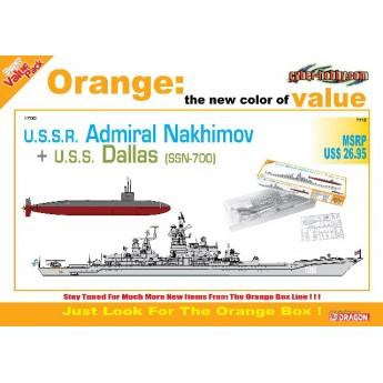 Корабль  U.S.S.R. ADMIRAL NAKHIMOV + U.S.S. DALLAS (SSN-700) (1:700)