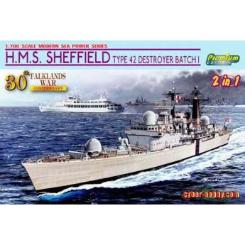 Корабль H.M.S. SHEFFIELD TYPE 42 DESTROYER BATCH 1 (FALKLANDS WAR) (1:700)