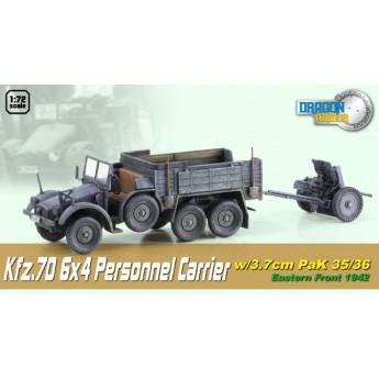 Dragon Armor 60517 Готовая модель автомобиля Kfz.70 6X4 w/3.7cm PaK 35/36 (1:72)