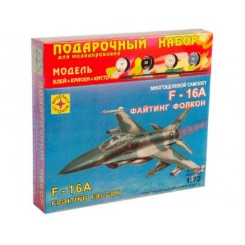 """Моделист ПН207202 Сборная модель самолета F-16A """"Файтинг Фолкон"""". Подарочный набор (1:72)"""
