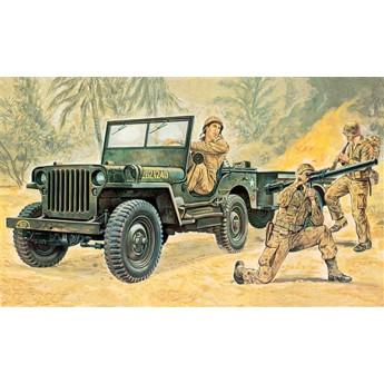 Модель автомобиля Willys MB Jeep with Trailer (1:35)
