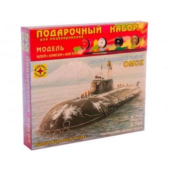 """Модель атомного подводного крейсера """"Омск"""" (1:700). Подарочный набор."""