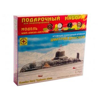 """Модель атомного подводного крейсера """"Дмитрий Донской"""" (1:700). Подарочный набор."""