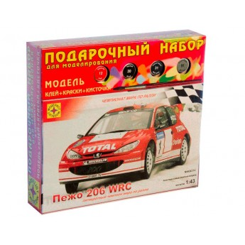 Модель автомобиля Пежо 206 WRC (1:43). Подарочный набор.
