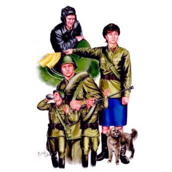Советские танкисты с регулировщицей (1:35)