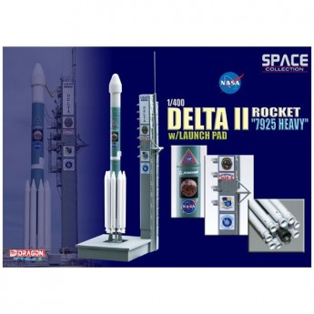 "Dragon 56339 Сборная модель космического аппарата Delta II Rocket ""7925 Heavy"" w/Launch Pad (1:400)"