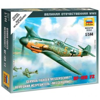 Звезда 6116 Сборная модель самолёта Messerschmitt Bf.109 F-2 (1:144)