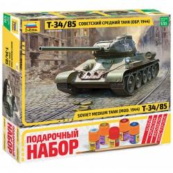 Звезда 3687П Сборная модель танка Т-34/85. Подарочный набор (1:35)