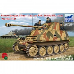 Bronco Models CB35097 Сборная модель САУ Panzerjaeger II fuer 7.62 cm PaK 36 (Sd.Kfz. 132) Marder II D (1:35)