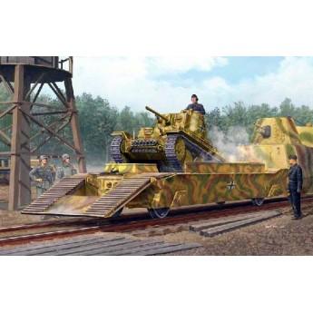 Модель немецкой ЖД платформы с танком Pz.Kpfw.38(t)