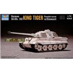 """Модель танка """"Кингтигр"""" (башня Порше) с циммеритом (1:72)"""